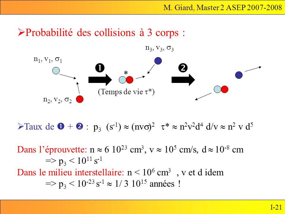M. Giard, Master 2 ASEP 2007-2008 I-21 Taux de + : p 3 (s -1 ) (nv ) 2 * n 2 v 2 d d/v n 2 v d 5 Dans léprouvette: n 6 10 23 cm 3, v 10 5 cm/s, d 10 -