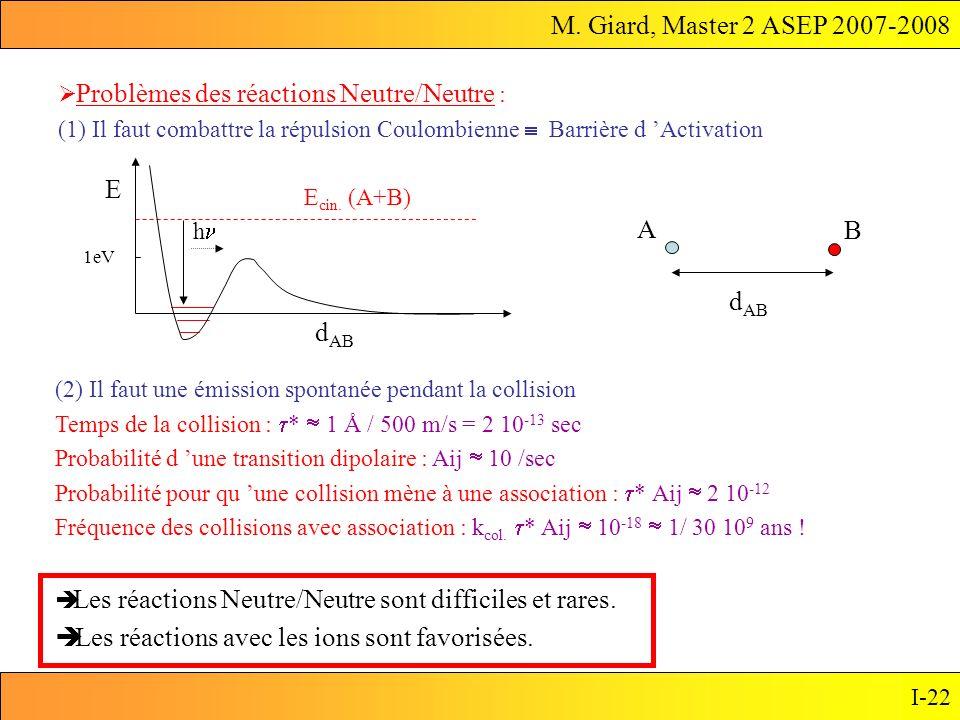 M. Giard, Master 2 ASEP 2007-2008 I-22 Problèmes des réactions Neutre/Neutre : (1) Il faut combattre la répulsion Coulombienne Barrière d Activation E