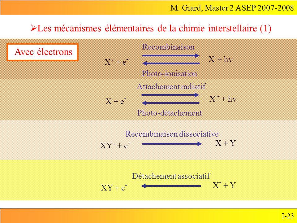 M. Giard, Master 2 ASEP 2007-2008 I-23 Les mécanismes élémentaires de la chimie interstellaire (1) X + e - X - + h Attachement radiatif Photo-détachem