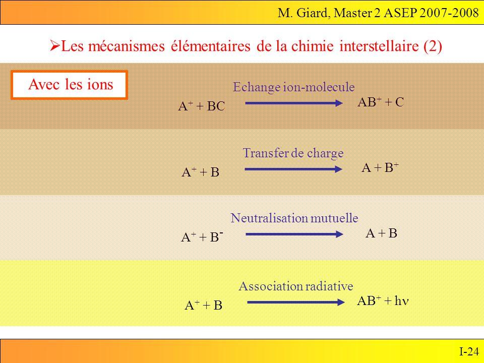 M. Giard, Master 2 ASEP 2007-2008 I-24 Les mécanismes élémentaires de la chimie interstellaire (2) A + + BC AB + + C Echange ion-molecule Avec les ion