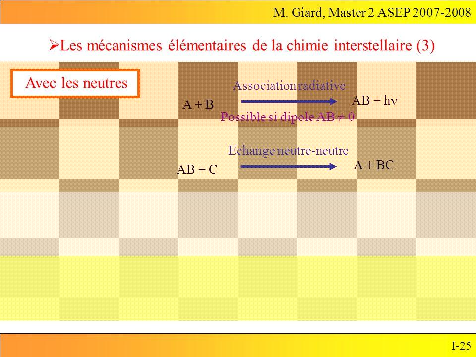 M. Giard, Master 2 ASEP 2007-2008 I-25 Les mécanismes élémentaires de la chimie interstellaire (3) A + B AB + h Association radiative Avec les neutres