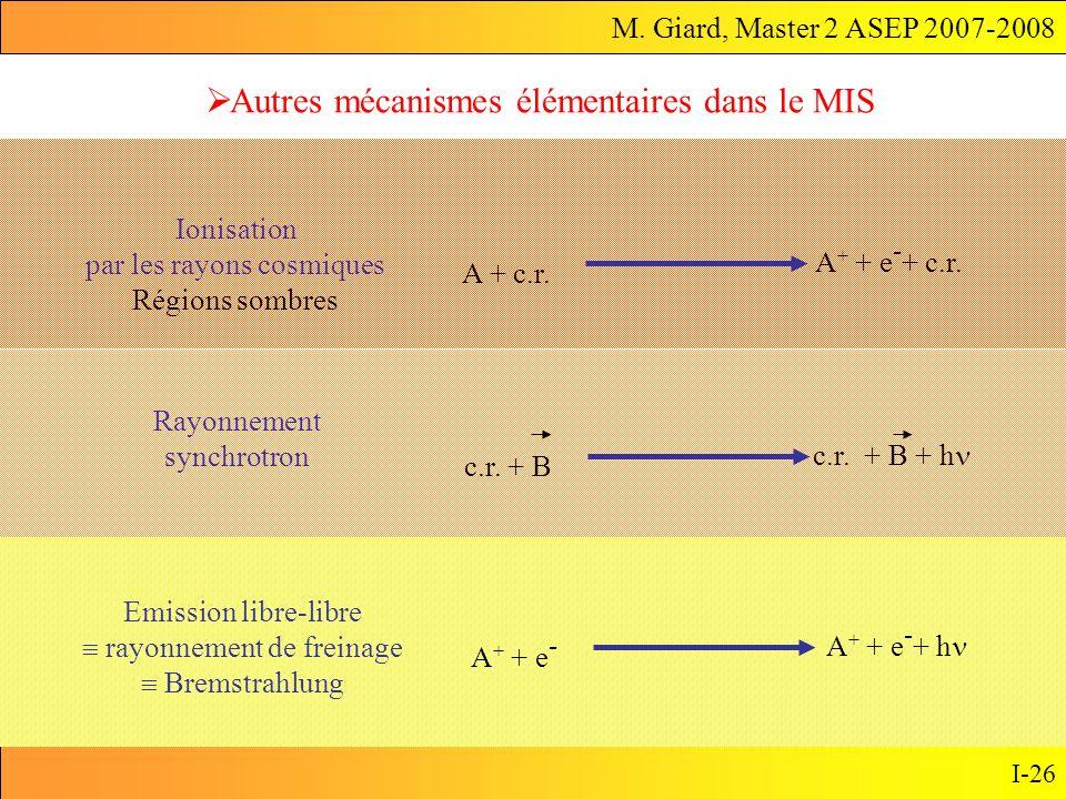 M. Giard, Master 2 ASEP 2007-2008 I-26 Autres mécanismes élémentaires dans le MIS A + + e - A + + e - + h Emission libre-libre rayonnement de freinage