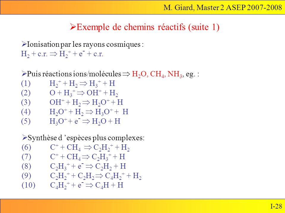 M. Giard, Master 2 ASEP 2007-2008 I-28 Exemple de chemins réactifs (suite 1) Synthèse d espèces plus complexes: (6)C + + CH 4 C 2 H 2 + + H 2 (7)C + +