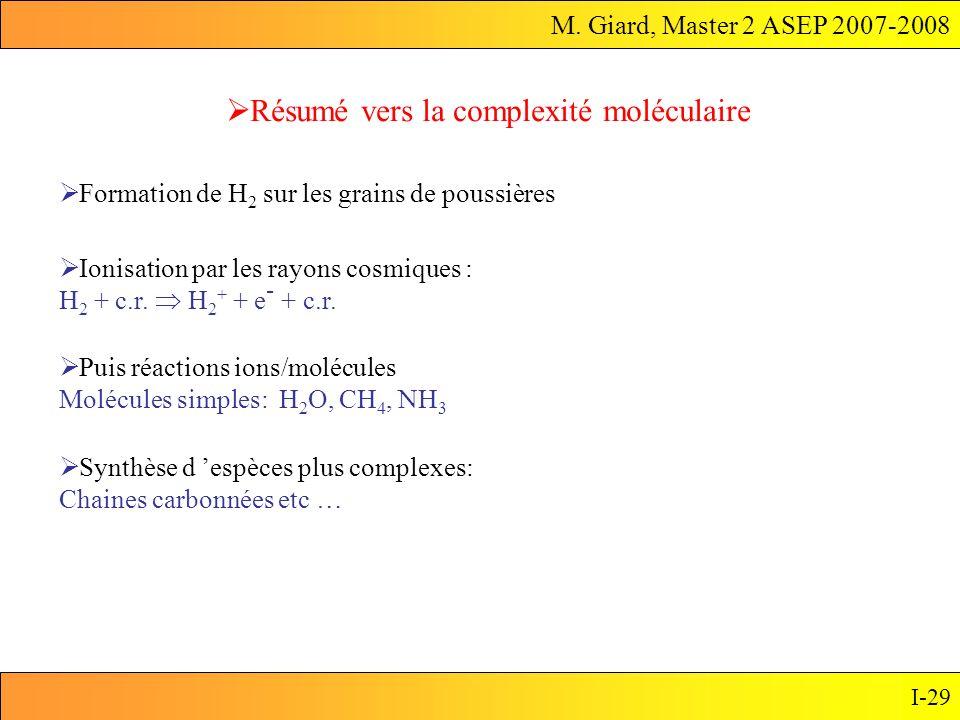 M. Giard, Master 2 ASEP 2007-2008 I-29 Résumé vers la complexité moléculaire Synthèse d espèces plus complexes: Chaines carbonnées etc … Ionisation pa