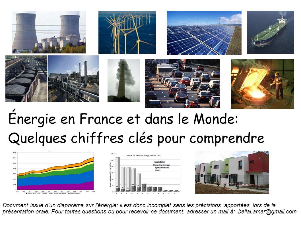 Énergie en France et dans le Monde: Quelques chiffres clés pour comprendre Document issue d'un diaporama sur l'énergie: il est donc incomplet sans les