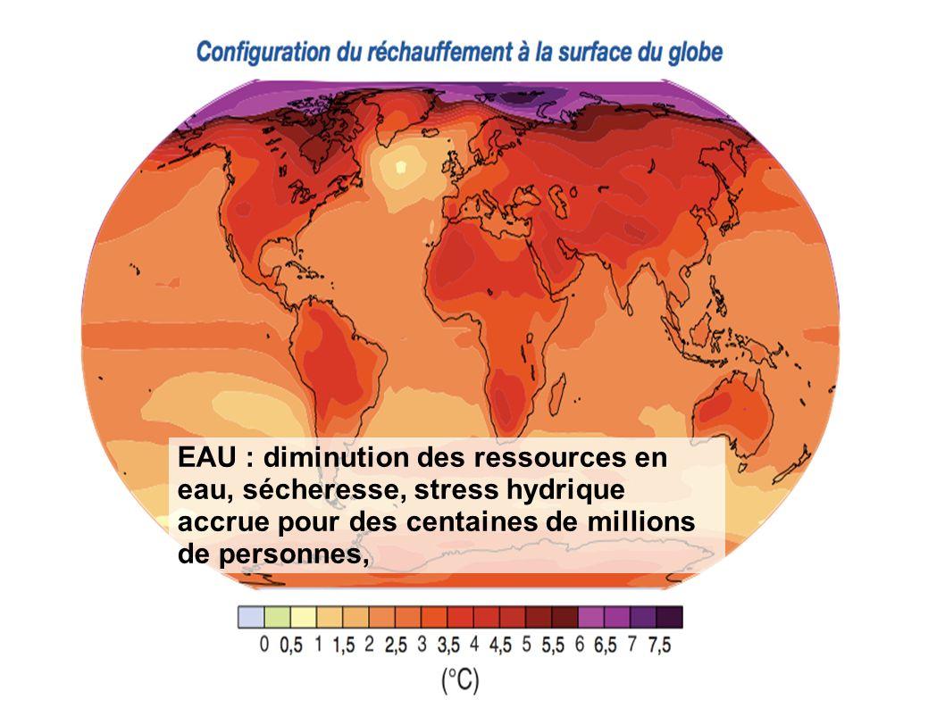 EAU : diminution des ressources en eau, sécheresse, stress hydrique accrue pour des centaines de millions de personnes,