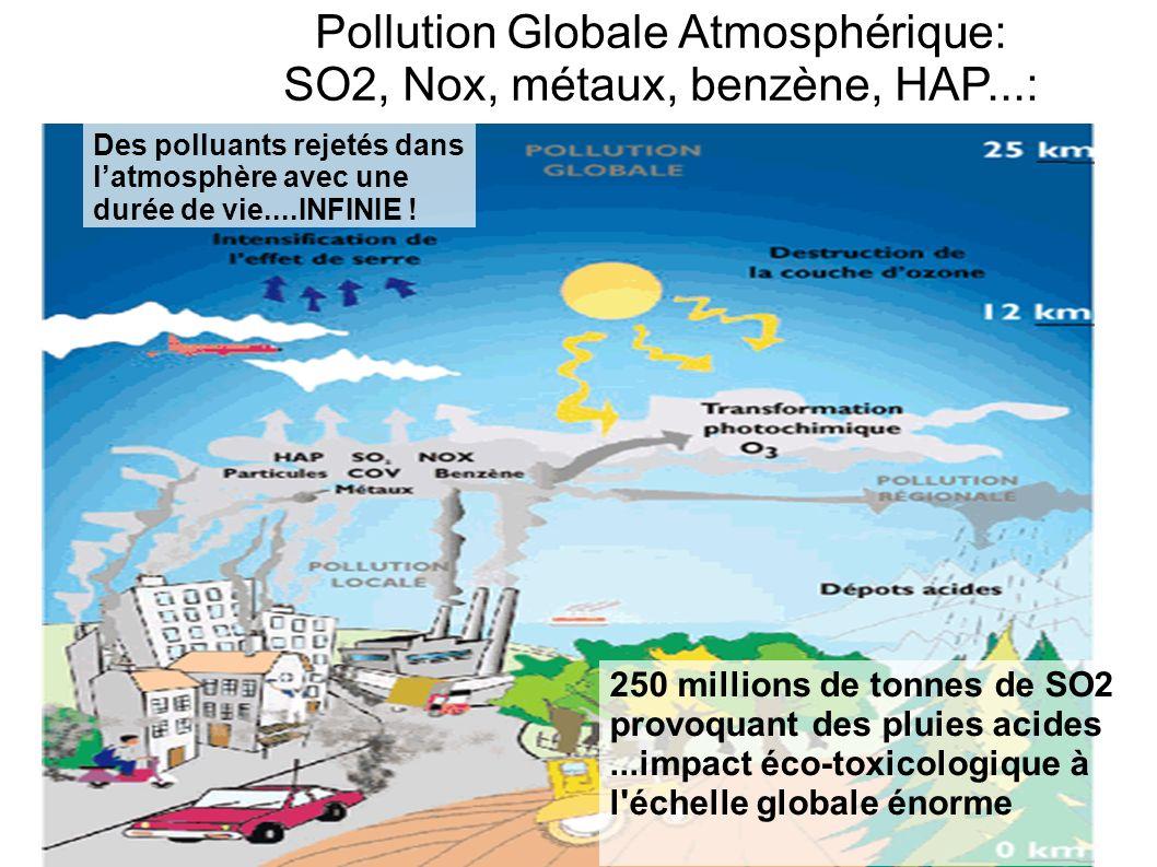 250 millions de tonnes de SO2 provoquant des pluies acides...impact éco-toxicologique à l'échelle globale énorme Pollution Globale Atmosphérique: SO2,