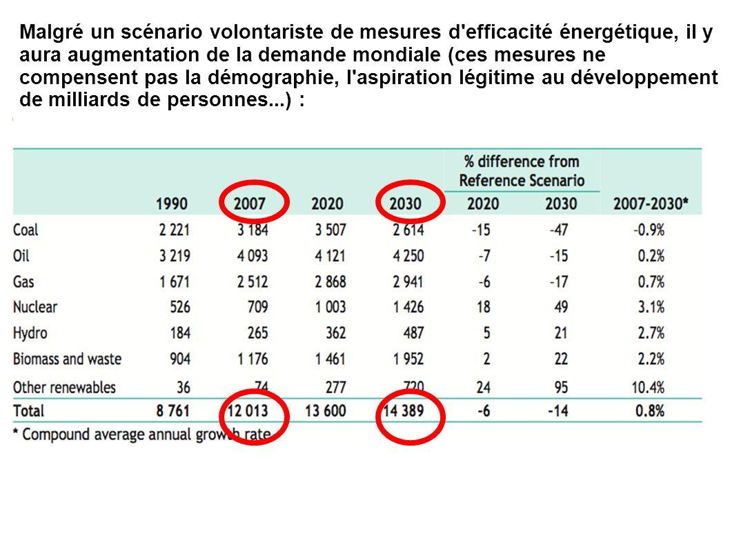 Malgré un scénario volontariste de mesures d'efficacité énergétique, il y aura augmentation de la demande mondiale (ces mesures ne compensent pas la d