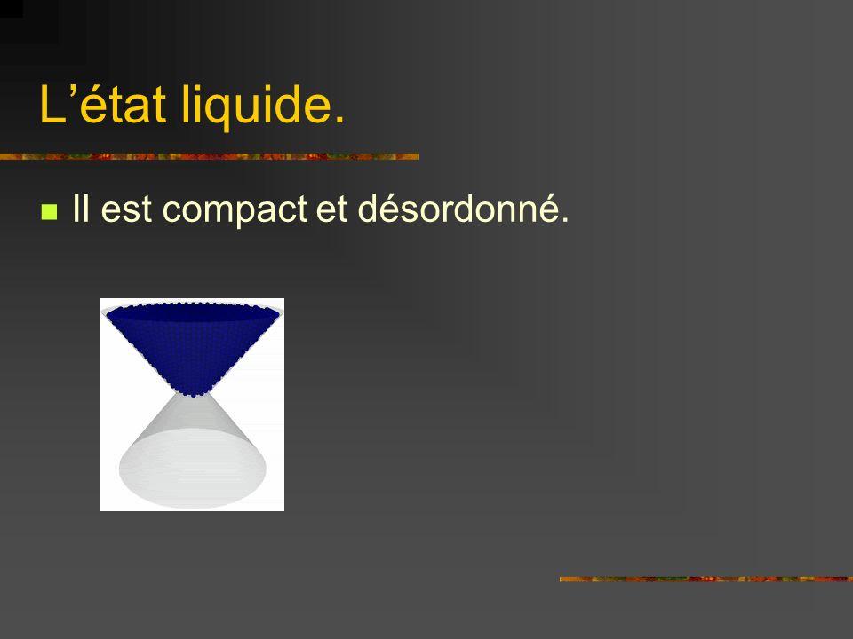 Létat liquide. Il est compact et désordonné.