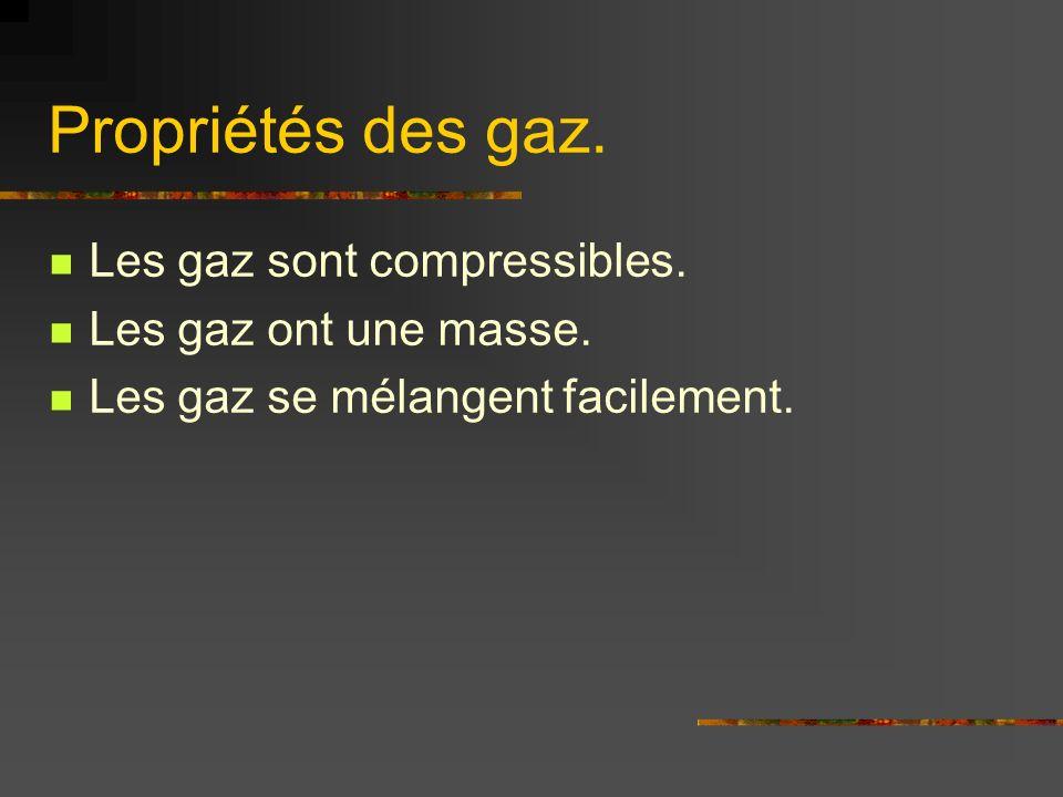 Propriétés des gaz. Les gaz sont compressibles. Les gaz ont une masse. Les gaz se mélangent facilement.