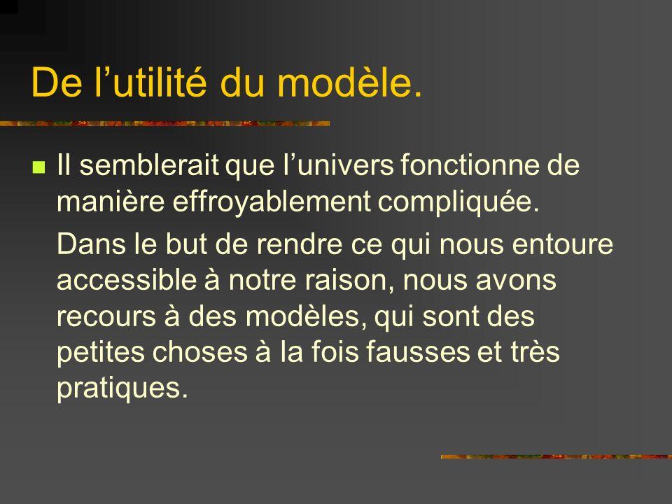 De lutilité du modèle. Il semblerait que lunivers fonctionne de manière effroyablement compliquée. Dans le but de rendre ce qui nous entoure accessibl