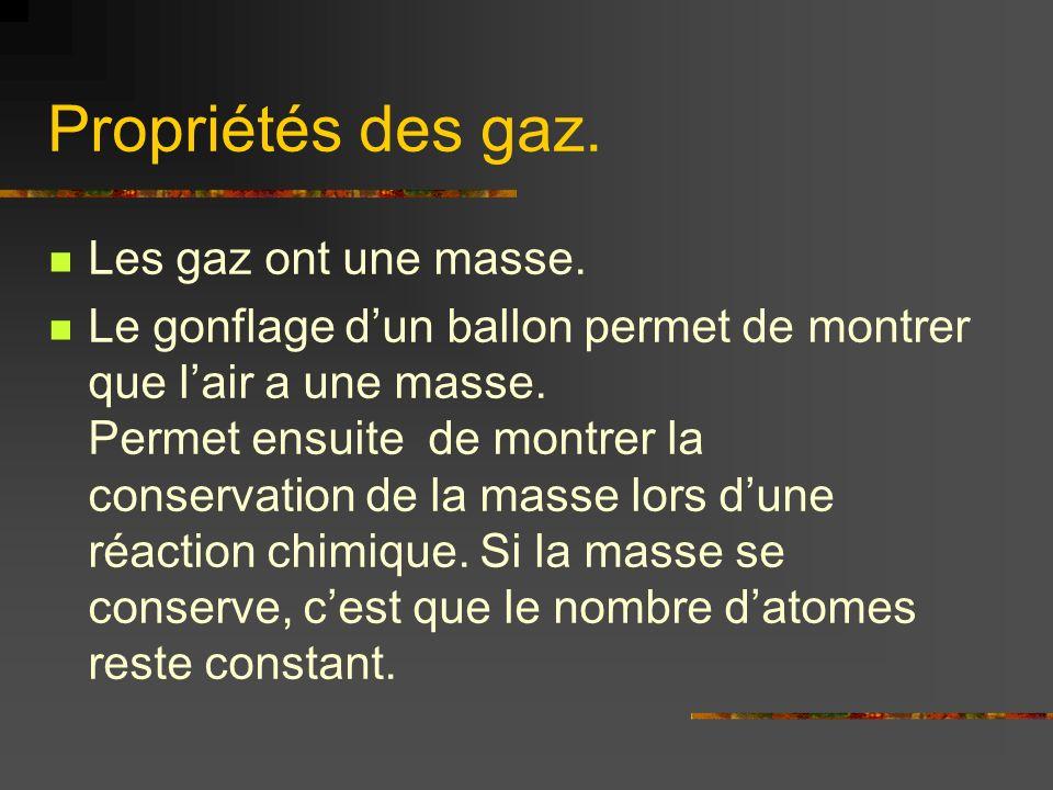 Propriétés des gaz. Les gaz ont une masse. Le gonflage dun ballon permet de montrer que lair a une masse. Permet ensuite de montrer la conservation de