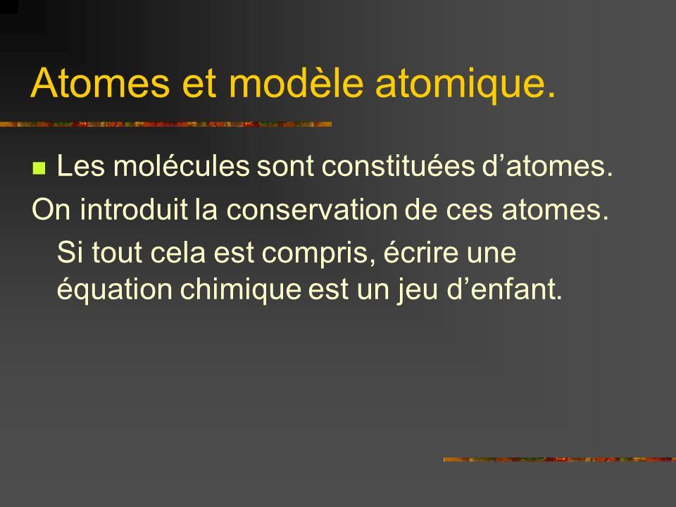 Atomes et modèle atomique. Les molécules sont constituées datomes. On introduit la conservation de ces atomes. Si tout cela est compris, écrire une éq