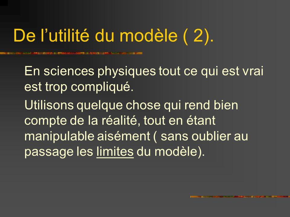 De lutilité du modèle ( 2). En sciences physiques tout ce qui est vrai est trop compliqué. Utilisons quelque chose qui rend bien compte de la réalité,