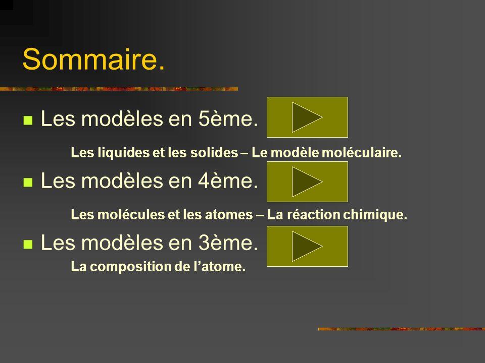 Sommaire. Les modèles en 5ème. Les liquides et les solides – Le modèle moléculaire. Les modèles en 4ème. Les molécules et les atomes – La réaction chi