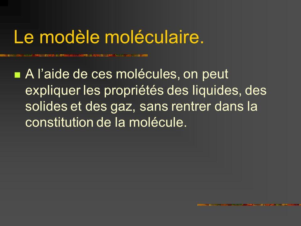 Le modèle moléculaire. A laide de ces molécules, on peut expliquer les propriétés des liquides, des solides et des gaz, sans rentrer dans la constitut