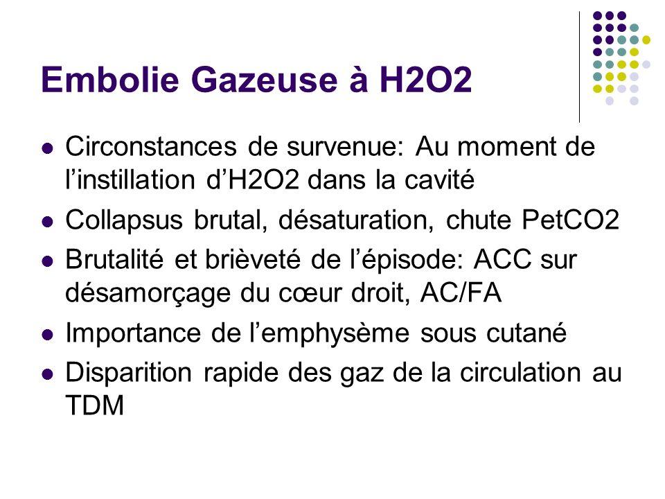 Embolie Gazeuse à H2O2 Circonstances de survenue: Au moment de linstillation dH2O2 dans la cavité Collapsus brutal, désaturation, chute PetCO2 Brutalité et brièveté de lépisode: ACC sur désamorçage du cœur droit, AC/FA Importance de lemphysème sous cutané Disparition rapide des gaz de la circulation au TDM