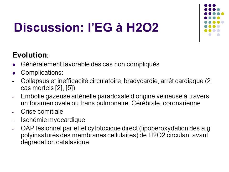 Discussion: lEG à H2O2 Evolution : Généralement favorable des cas non compliqués Complications: - Collapsus et inefficacité circulatoire, bradycardie, arrêt cardiaque (2 cas mortels [2], [5]) - Embolie gazeuse artérielle paradoxale dorigine veineuse à travers un foramen ovale ou trans pulmonaire: Cérébrale, coronarienne - Crise comitiale - Ischémie myocardique - OAP lésionnel par effet cytotoxique direct (lipoperoxydation des a.g polyinsaturés des membranes cellulaires) de H2O2 circulant avant dégradation catalasique