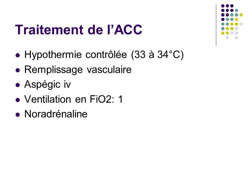 Traitement de lACC Hypothermie contrôlée (33 à 34°C) Remplissage vasculaire Aspégic iv Ventilation en FiO2: 1 Noradrénaline