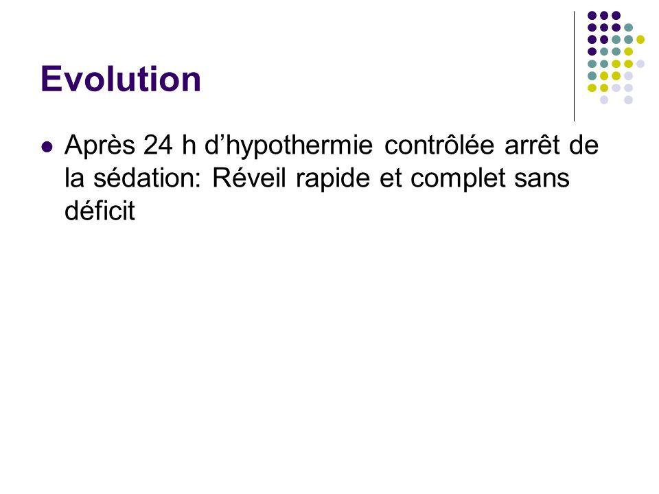 Evolution Après 24 h dhypothermie contrôlée arrêt de la sédation: Réveil rapide et complet sans déficit