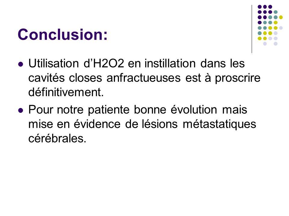 Conclusion: Utilisation dH2O2 en instillation dans les cavités closes anfractueuses est à proscrire définitivement. Pour notre patiente bonne évolutio