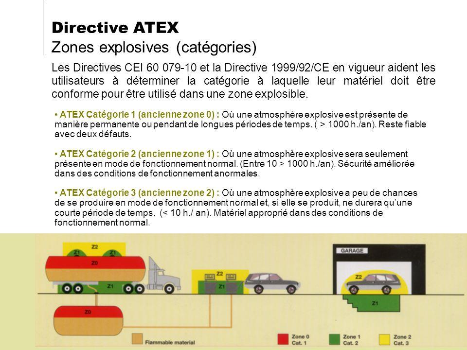 Les Directives CEI 60 079-10 et la Directive 1999/92/CE en vigueur aident les utilisateurs à déterminer la catégorie à laquelle leur matériel doit êtr