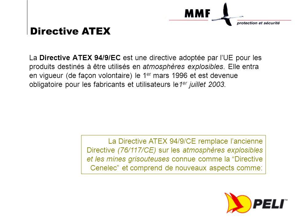 La Directive ATEX 94/9/EC est une directive adoptée par lUE pour les produits destinés à être utilisés en atmosphères explosibles. Elle entra en vigue