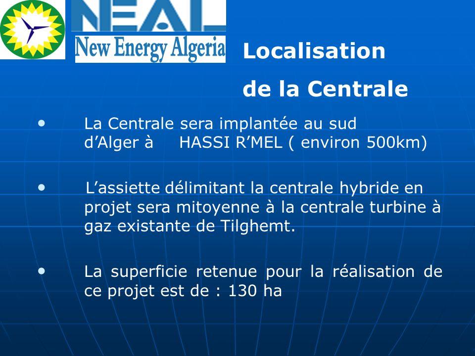 La Centrale sera implantée au sud dAlger à HASSI RMEL ( environ 500km) Lassiette délimitant la centrale hybride en projet sera mitoyenne à la centrale