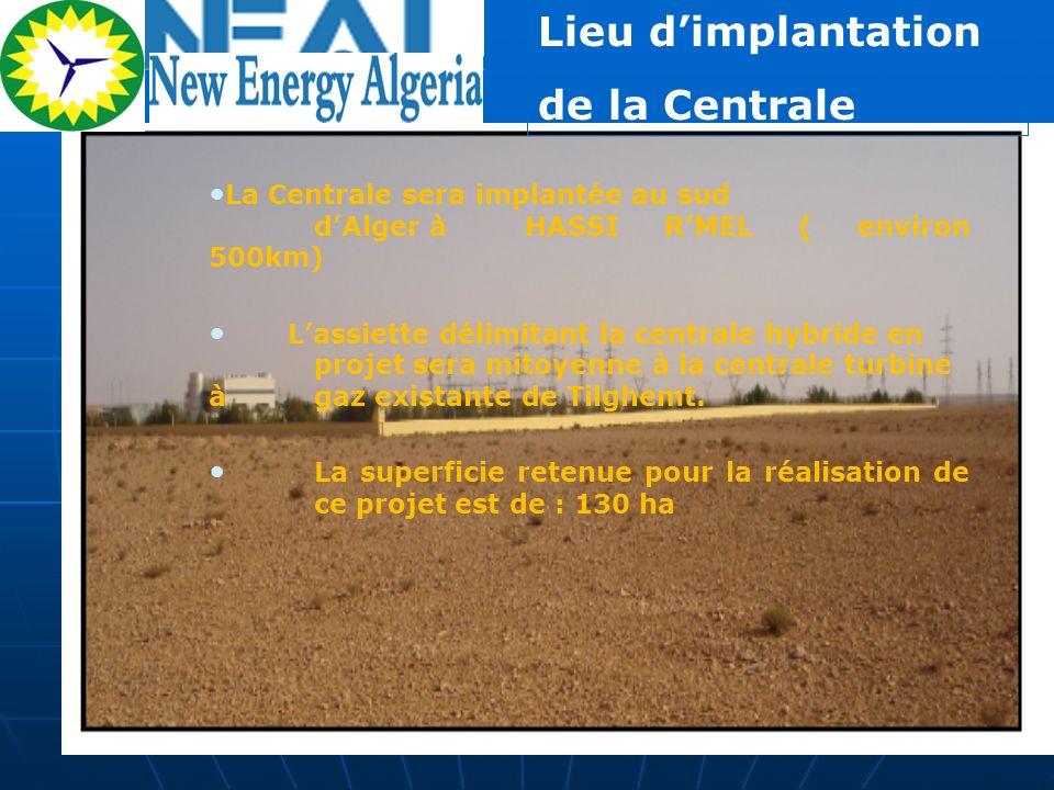 Lieu dimplantation de la Centrale La Centrale sera implantée au sud dAlger à HASSI RMEL ( environ 500km) Lassiette délimitant la centrale hybride en p