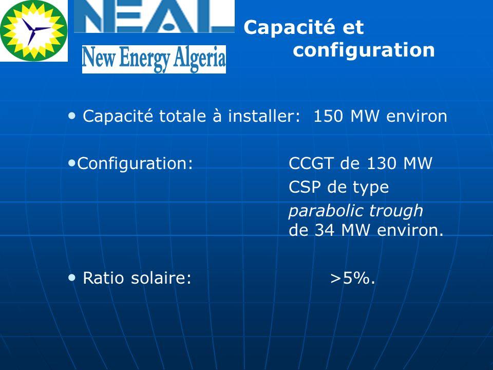 Capacité totale à installer: 150 MW environ Configuration: CCGT de 130 MW CSP de type parabolic trough de 34 MW environ. Ratio solaire: >5%. Capacité