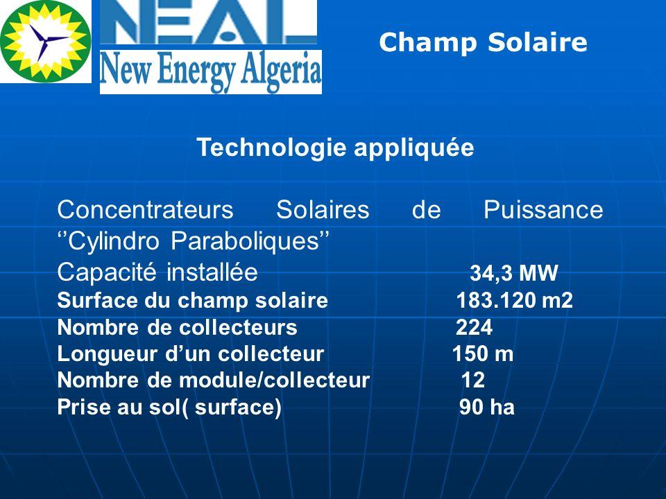 Technologie appliquée Concentrateurs Solaires de Puissance Cylindro Paraboliques Capacité installée 34,3 MW Surface du champ solaire 183.120 m2 Nombre