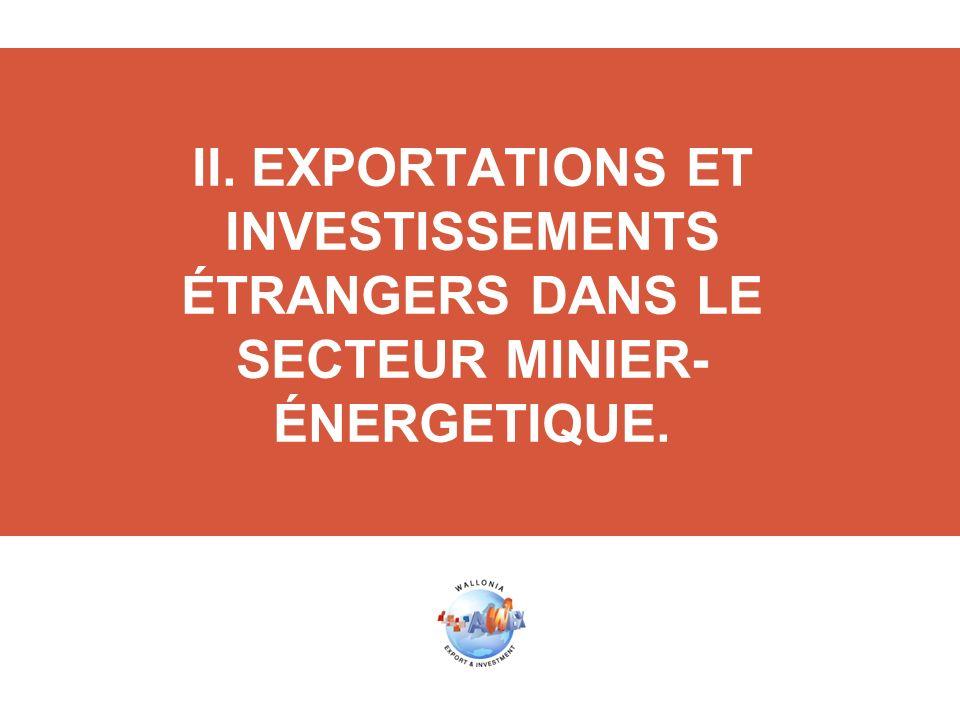 II. EXPORTATIONS ET INVESTISSEMENTS ÉTRANGERS DANS LE SECTEUR MINIER- ÉNERGETIQUE.