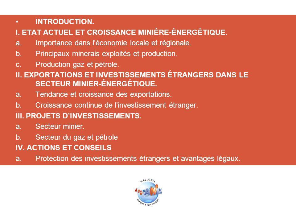 INTRODUCTION.I. ETAT ACTUEL ET CROISSANCE MINIÈRE-ÉNERGÉTIQUE.