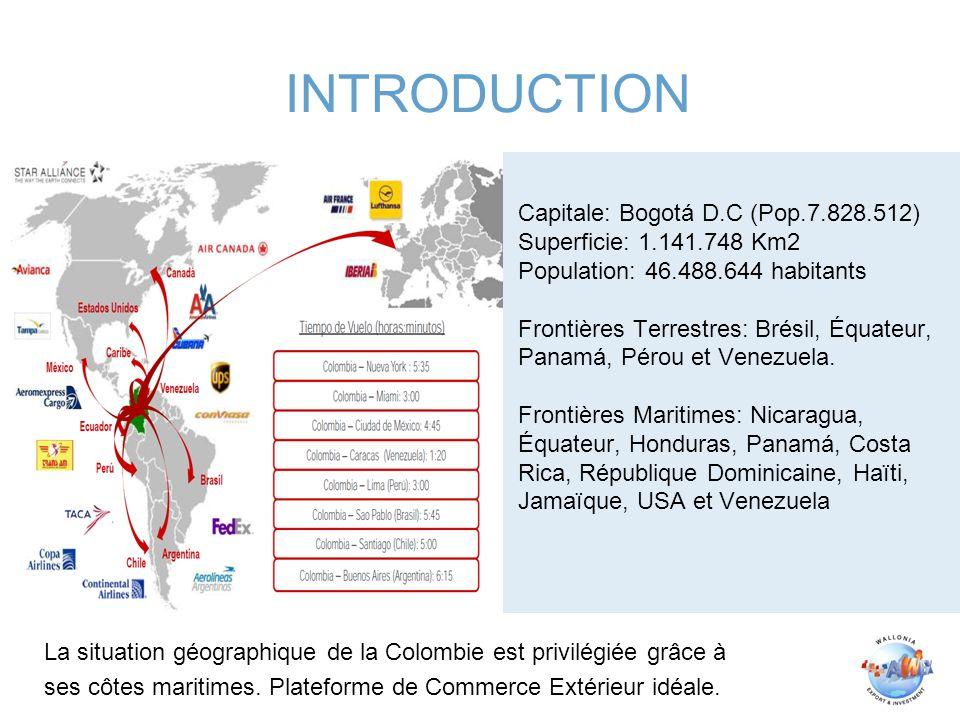 Capitale: Bogotá D.C (Pop.7.828.512) Superficie: 1.141.748 Km2 Population: 46.488.644 habitants Frontières Terrestres: Brésil, Équateur, Panamá, Pérou et Venezuela.