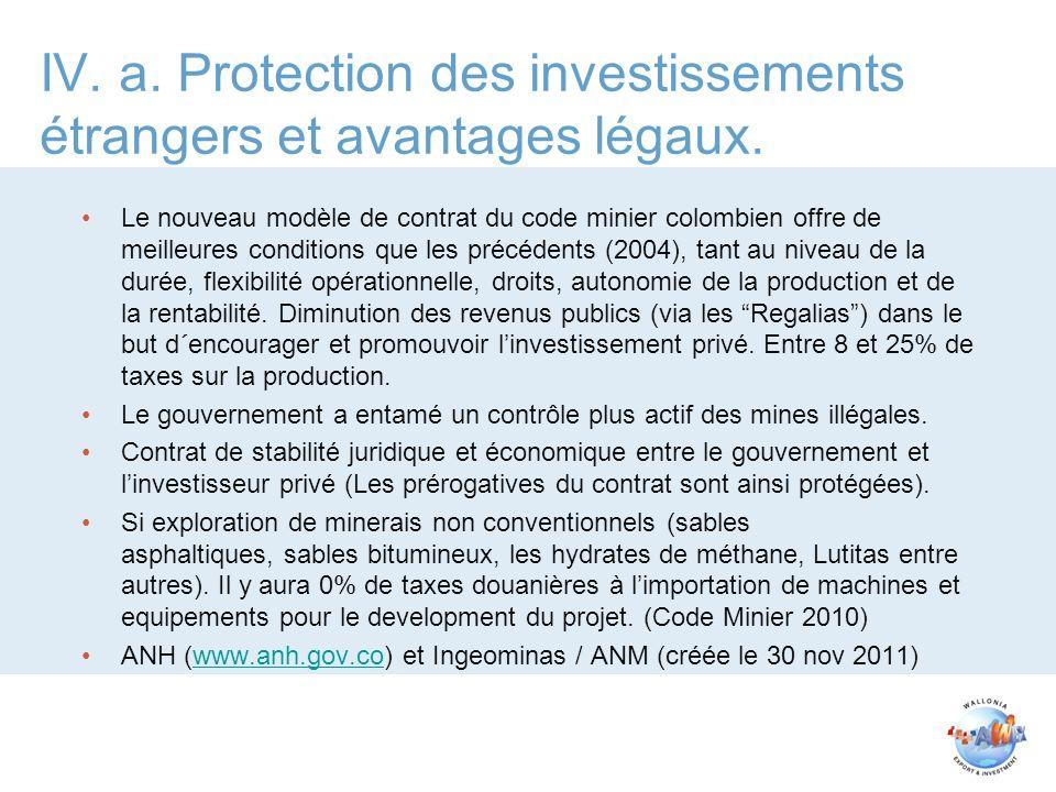 IV.a. Protection des investissements étrangers et avantages légaux.
