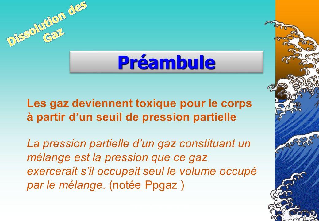 Véronique CREMERS IR1 Les gaz deviennent toxique pour le corps à partir dun seuil de pression partielle PréambulePréambule La pression partielle dun g
