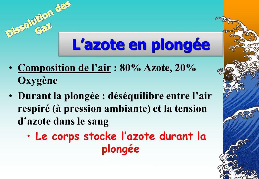 Véronique CREMERS IR12 Composition de lair : 80% Azote, 20% Oxygène Durant la plongée : déséquilibre entre lair respiré (à pression ambiante) et la te