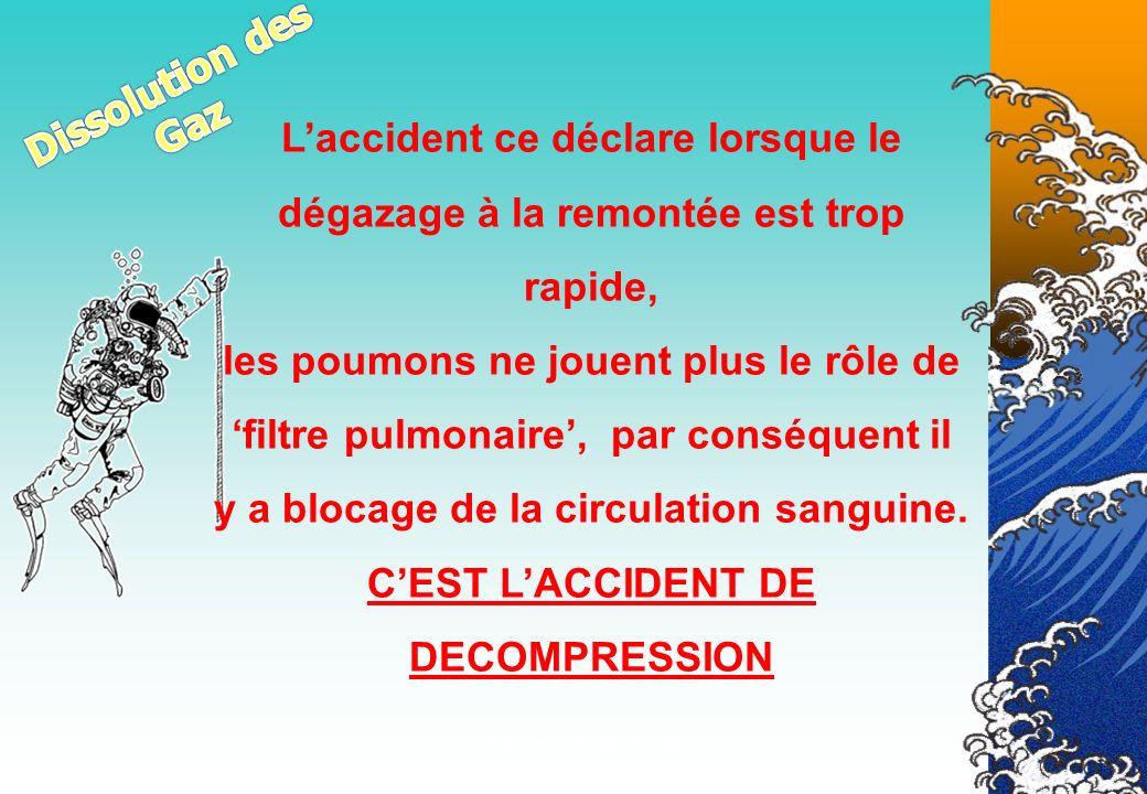 Véronique CREMERS IR19 Laccident ce déclare lorsque le dégazage à la remontée est trop rapide, les poumons ne jouent plus le rôle de filtre pulmonaire
