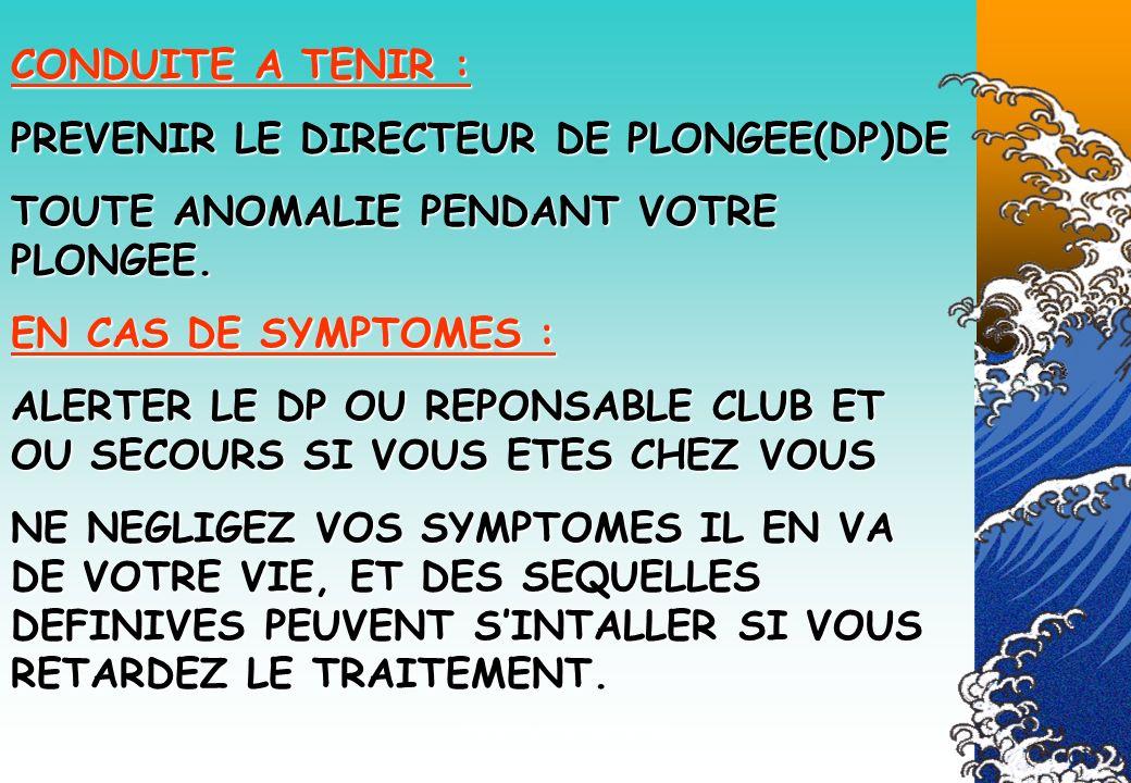 Véronique CREMERS IR21 CONDUITE A TENIR : PREVENIR LE DIRECTEUR DE PLONGEE(DP)DE TOUTE ANOMALIE PENDANT VOTRE PLONGEE. EN CAS DE SYMPTOMES : ALERTER L