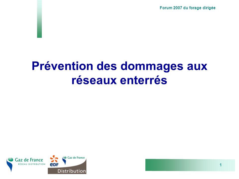 Forum 2007 du forage dirigée 1 Prévention des dommages aux réseaux enterrés