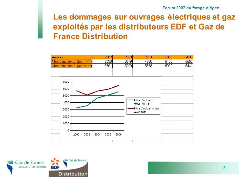 Forum 2007 du forage dirigée 2 Les dommages sur ouvrages électriques et gaz exploités par les distributeurs EDF et Gaz de France Distribution