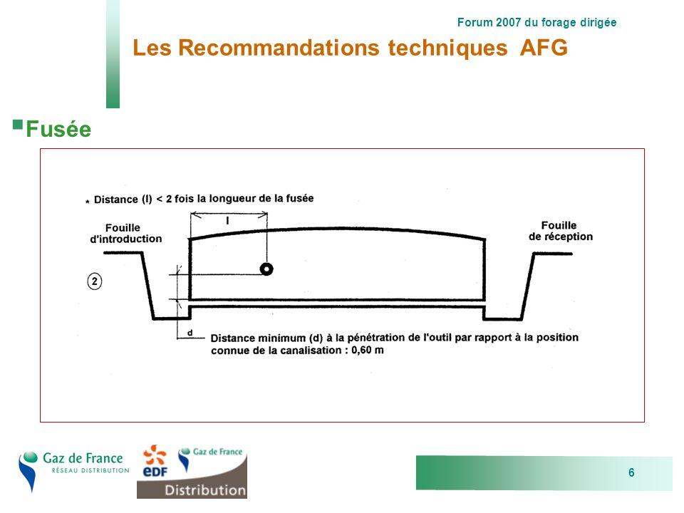 Forum 2007 du forage dirigée 6 Les Recommandations techniques AFG Fusée