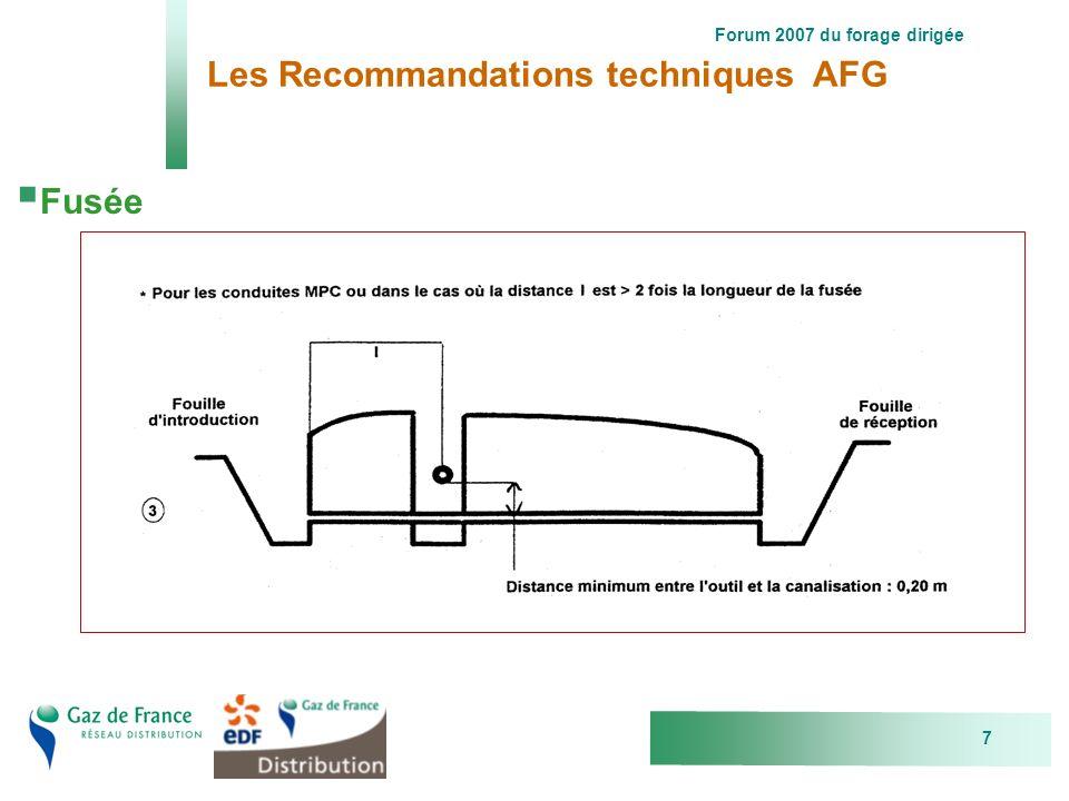 Forum 2007 du forage dirigée 7 Les Recommandations techniques AFG Fusée