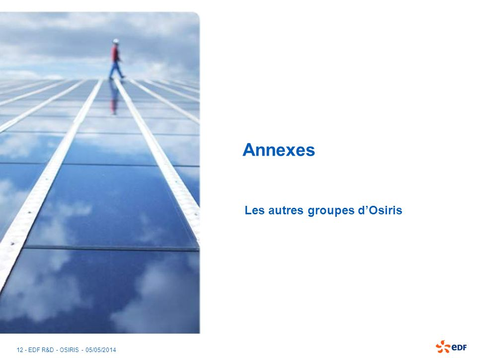 12 - EDF R&D - OSIRIS - 05/05/2014 Annexes Les autres groupes dOsiris