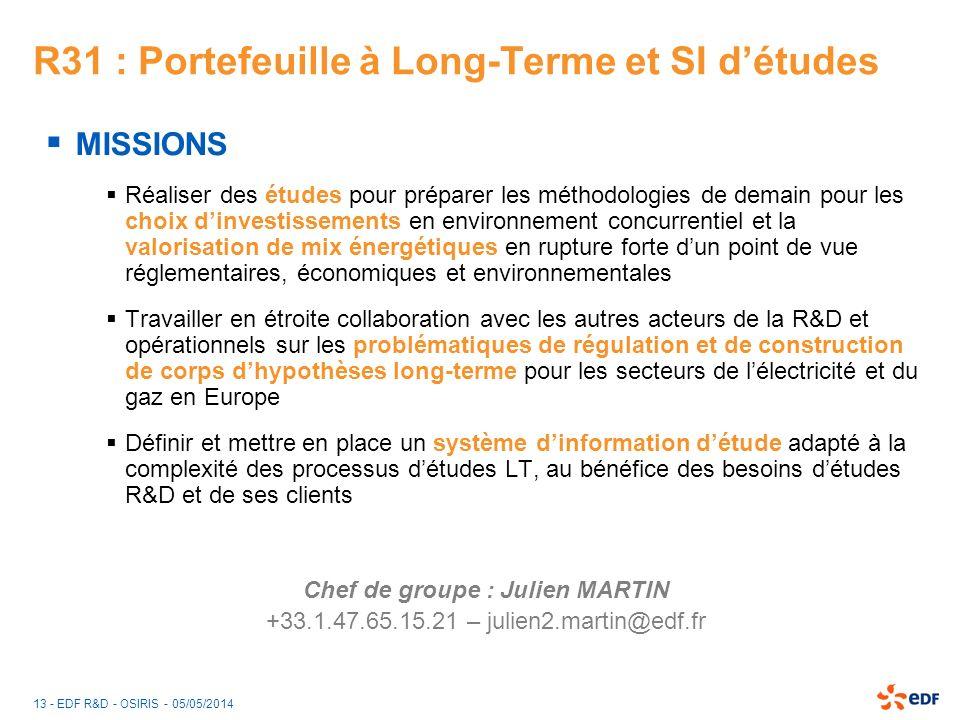 13 - EDF R&D - OSIRIS - 05/05/2014 R31 : Portefeuille à Long-Terme et SI détudes MISSIONS Réaliser des études pour préparer les méthodologies de demai