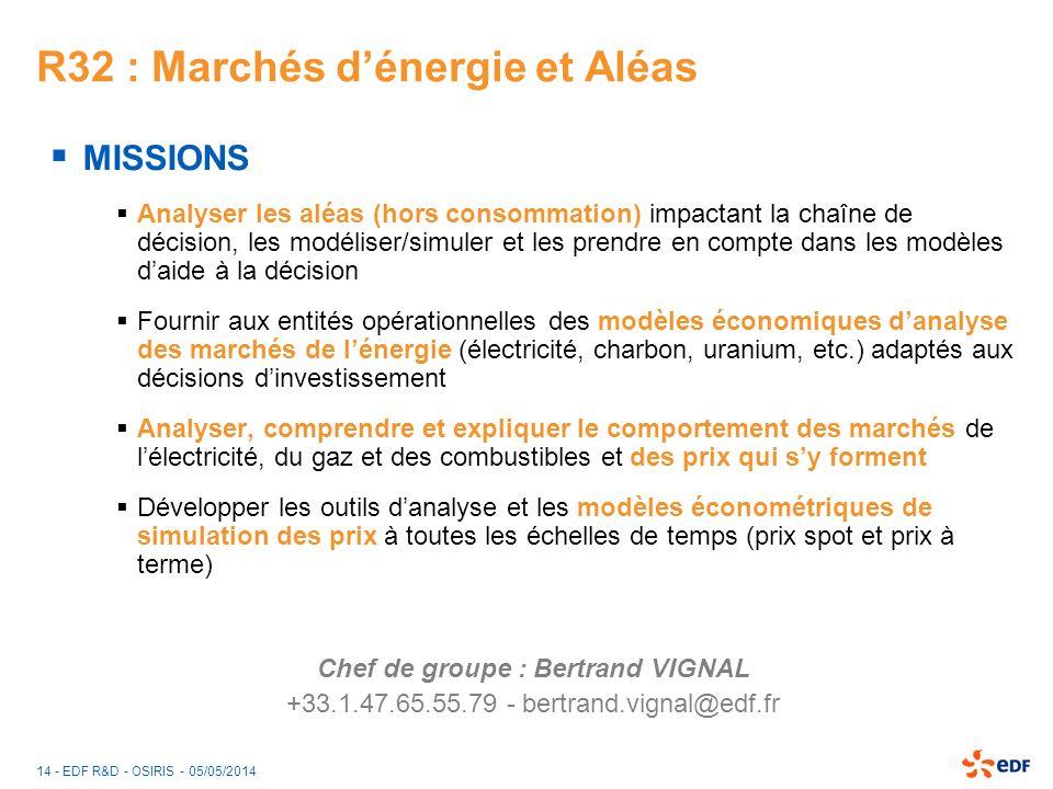 14 - EDF R&D - OSIRIS - 05/05/2014 R32 : Marchés dénergie et Aléas MISSIONS Analyser les aléas (hors consommation) impactant la chaîne de décision, le