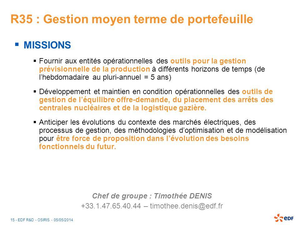 15 - EDF R&D - OSIRIS - 05/05/2014 R35 : Gestion moyen terme de portefeuille MISSIONS Fournir aux entités opérationnelles des outils pour la gestion p