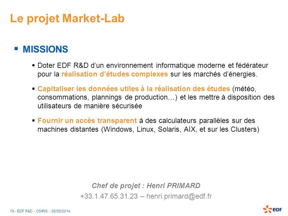 19 - EDF R&D - OSIRIS - 05/05/2014 Le projet Market-Lab MISSIONS Doter EDF R&D dun environnement informatique moderne et fédérateur pour la réalisatio