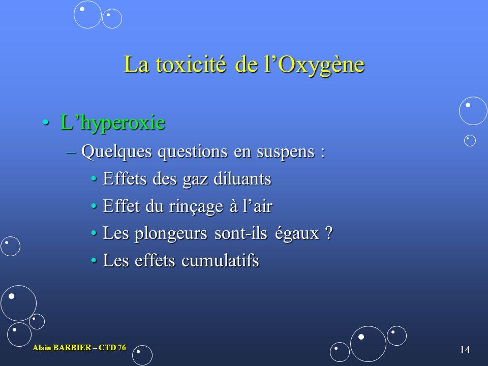 13 Alain BARBIER – CTD 76 La toxicité de lOxygène LhyperoxieLhyperoxie Lexploitation statistique des résultats expérimentaux :Lexploitation statistiqu
