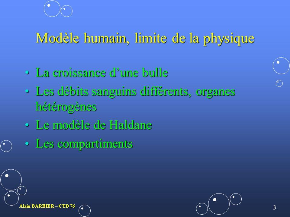 2 Alain BARBIER – CTD 76 Bases physiques de la décompression Les facteurs qui influencent les échanges de gaz entre un liquide et un gaz sont :Les fac